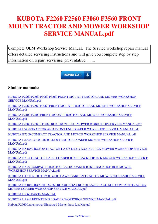 Kubota f3060 parts manual pdf