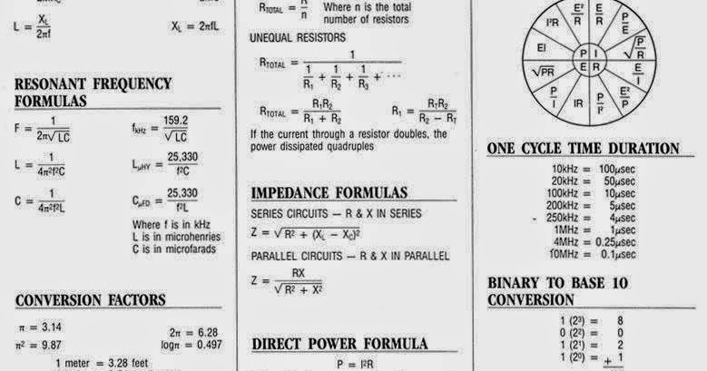 Electrical engineering equations and formulas pdf