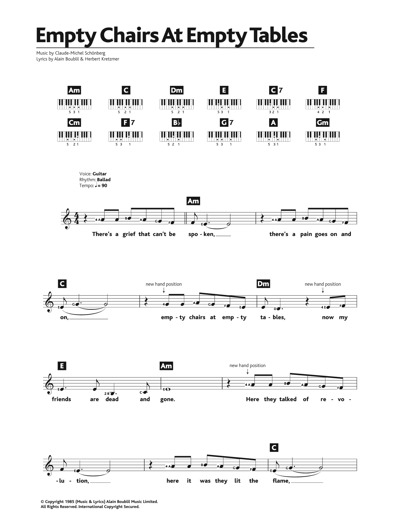 Empty chairs at empty tables sheet music piano pdf