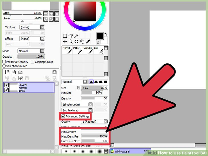 Paint tool sai how to change line color