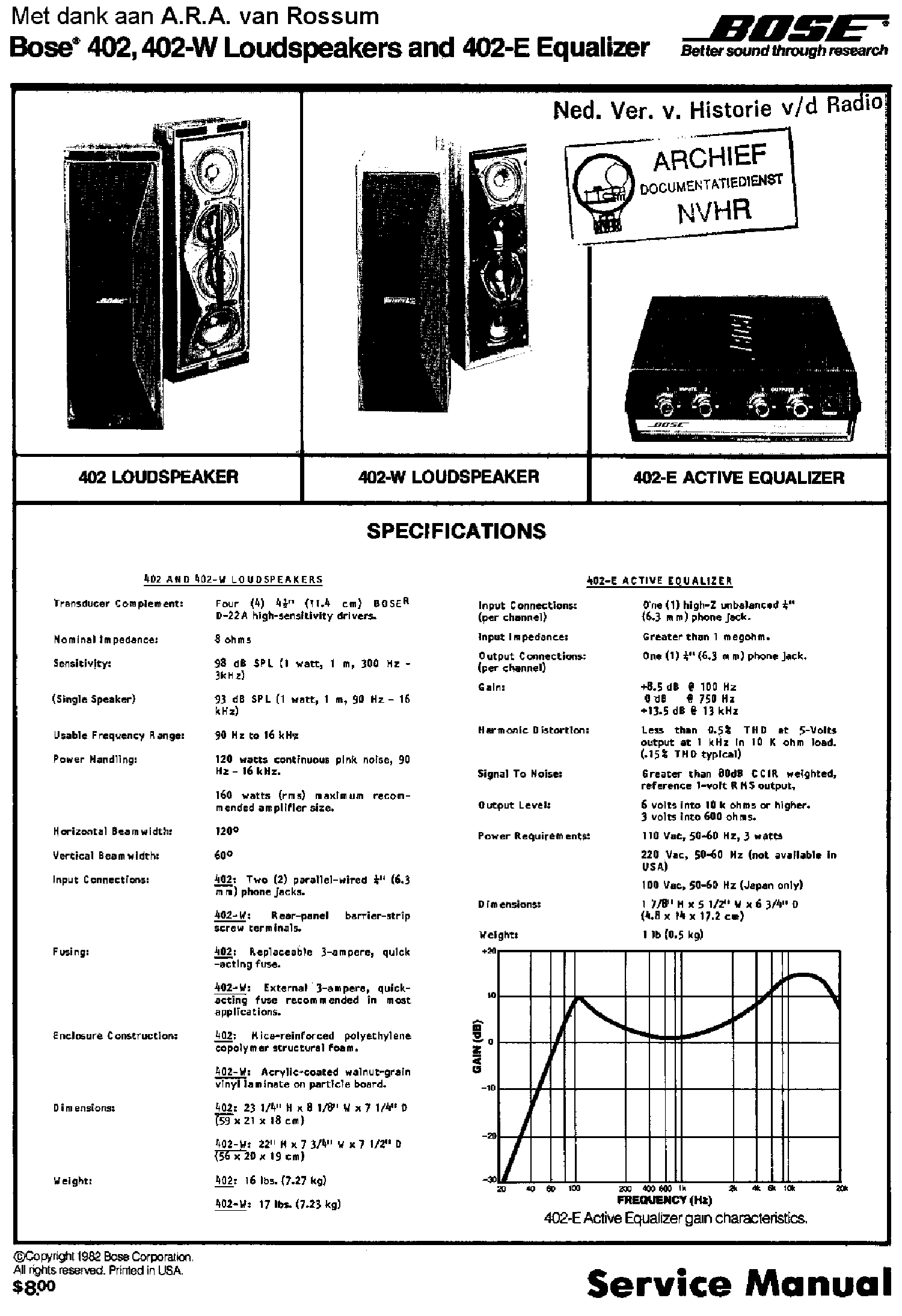 bose 402 e active equalizer manual