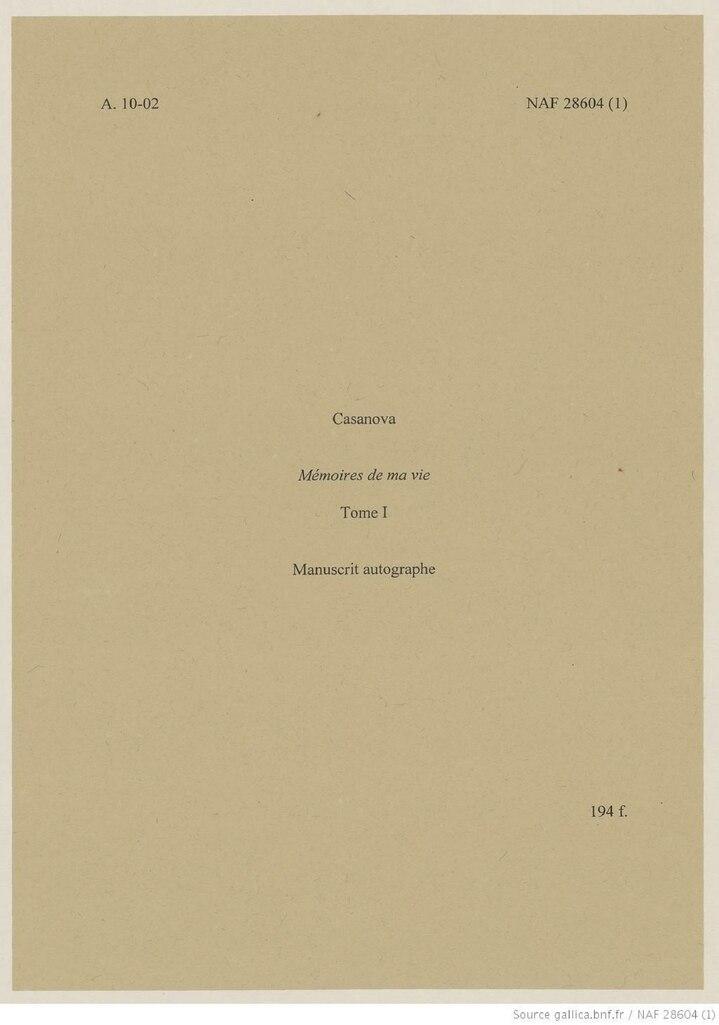 Histoire de ma vie casanova pdf