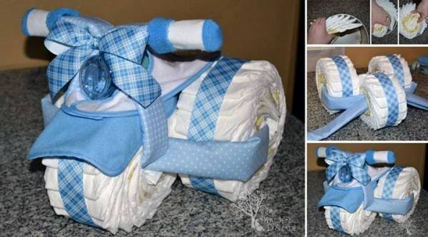 instructions on how to make a diaper cake tricycle