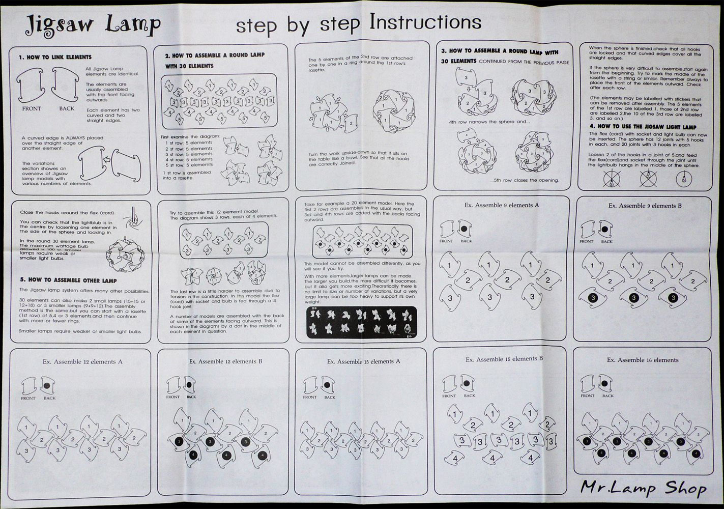 iq lamp instructions 60 pieces