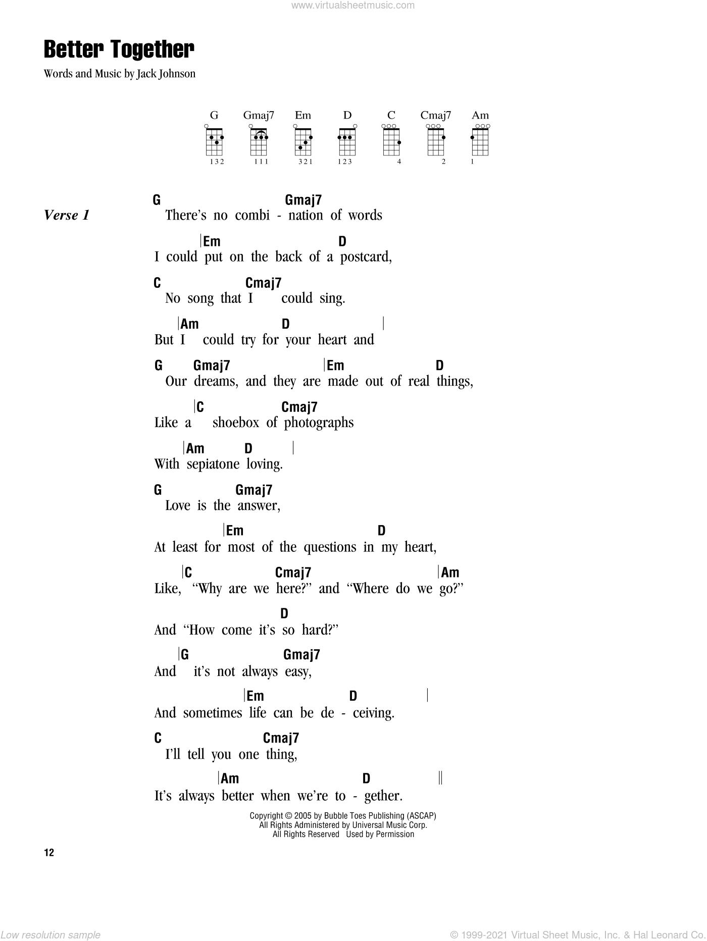 Jack johnson better together sheet music pdf