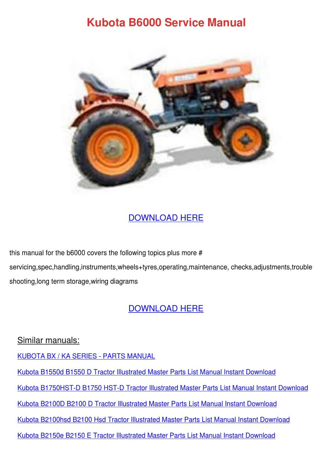kubota b2150 hst operators manual