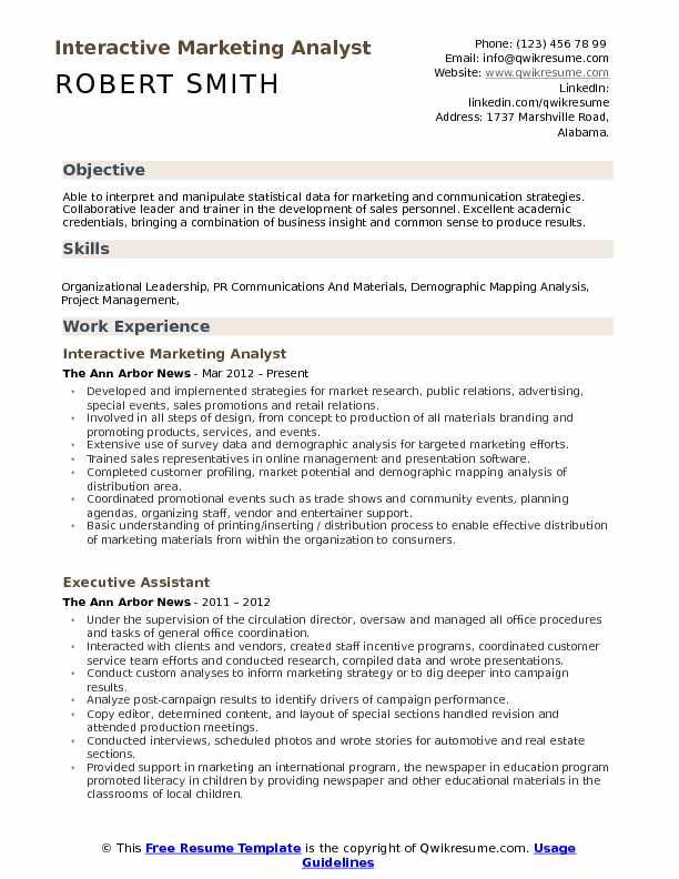 Market research analyst resume pdf