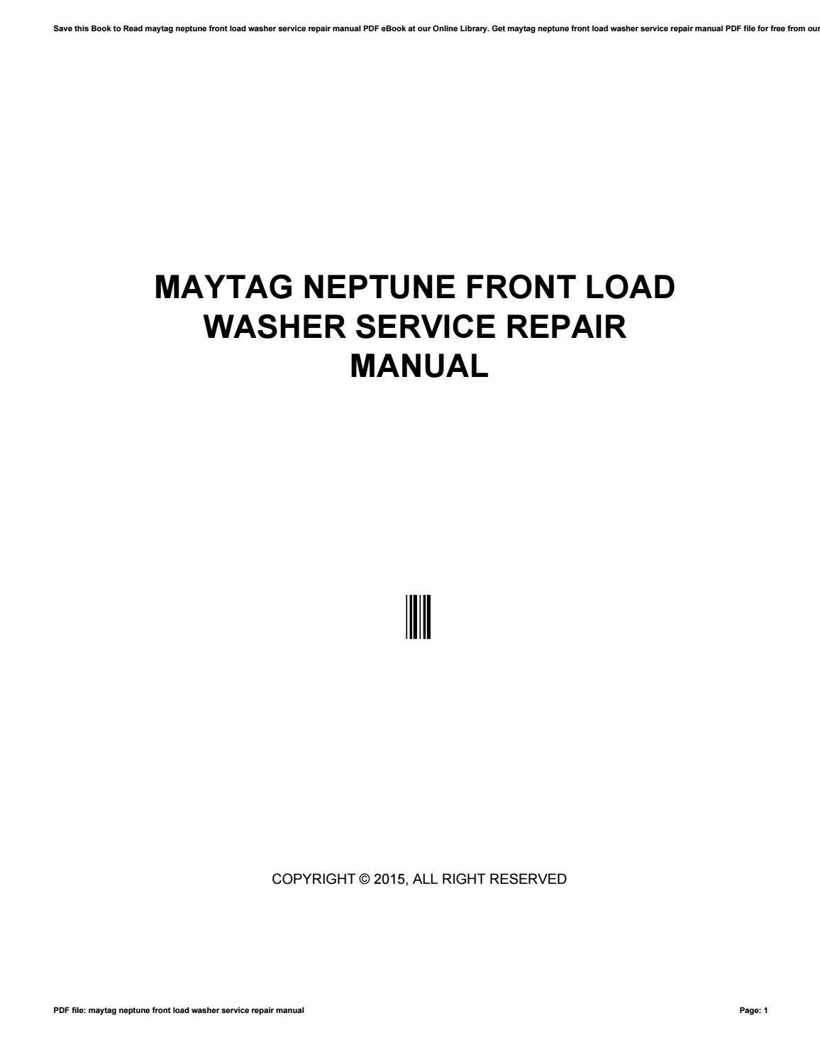 Maytag neptune washer repair manual pdf