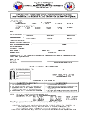 Ntc application for radio operator certificate