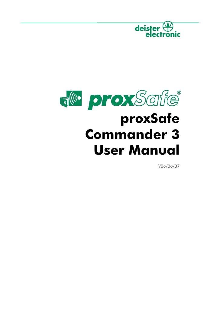 Proxsafe commander 4 user manual