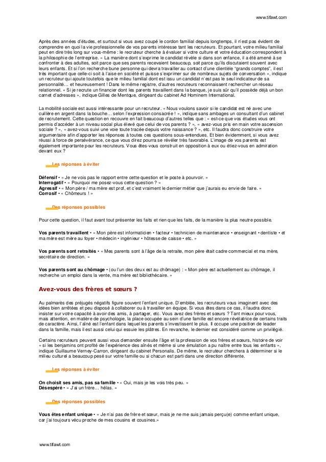 Reponse entretien d embauche pdf