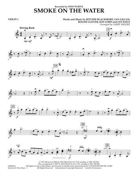 Smoke on the water music sheet pdf
