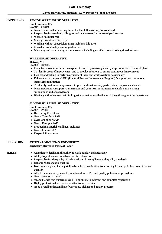 Warehouse operative job description pdf