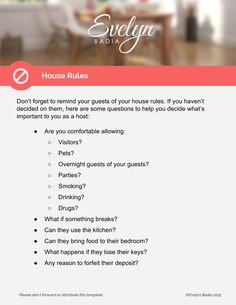 welcome letter and instructions for airbnb guests