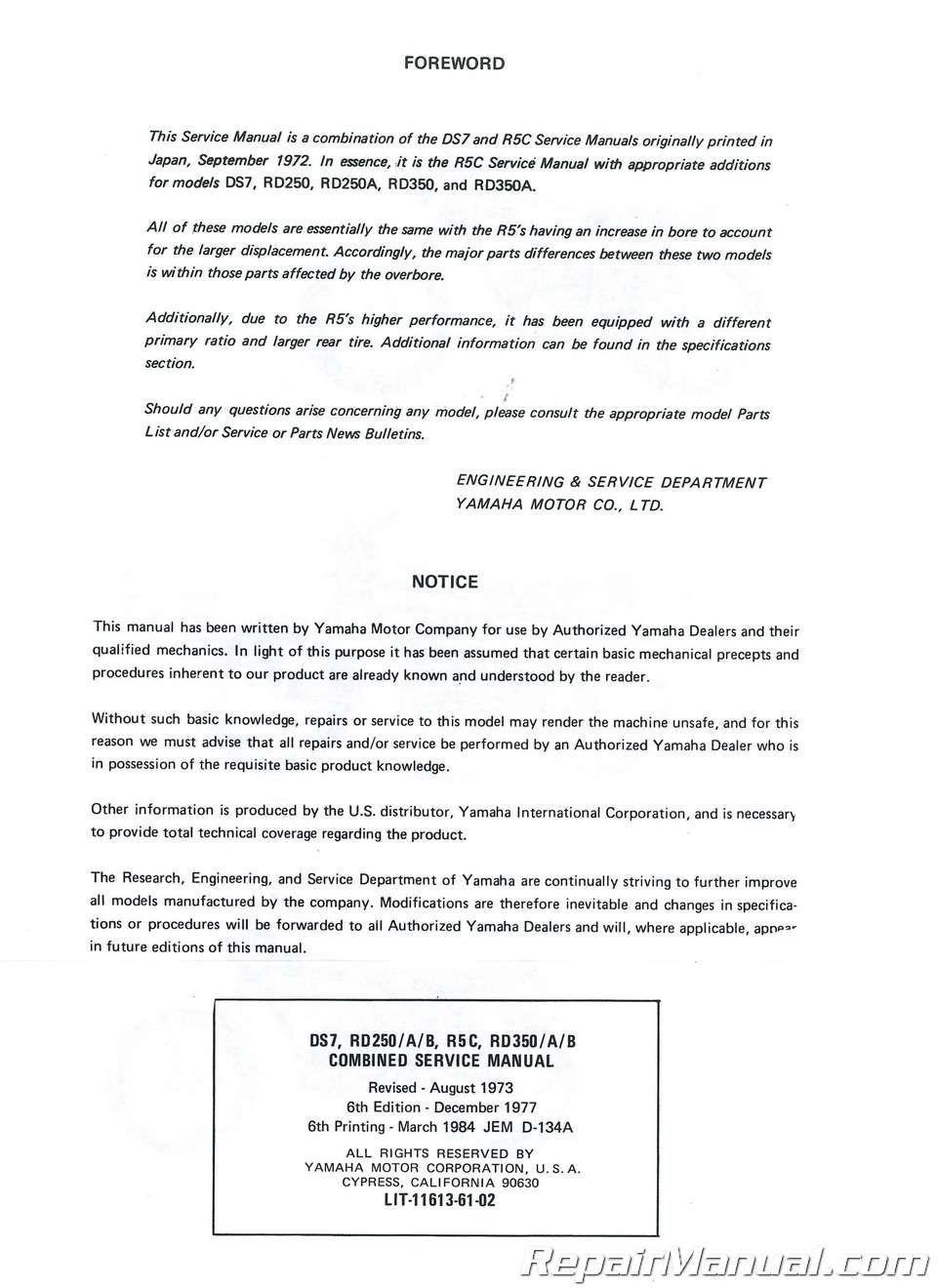 yamaha rd 350 manual pdf